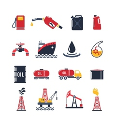 Petroleum industry icon set vector
