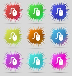 Computer mouse icon sign a set of nine original vector