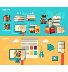 Books and library flat banner set vector