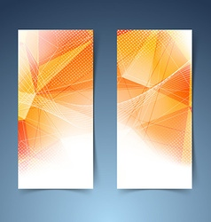 Bright orange crystal structure banner set vector
