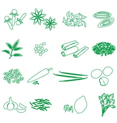 Spices and seasonings outline icons set eps10 vector