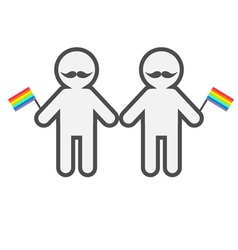 Gay marriage pride symbol two contour man vector