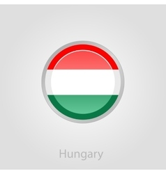 Hungary flag button vector