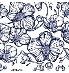 Orchid flowers seamless pattern vector