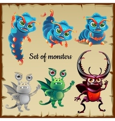 Set of six menacing insects cute monsters vector