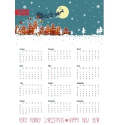 Calendar 2016santa coming to the cityvertical vector