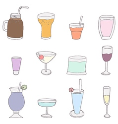 Collection of alcohol cocktails and drinks vector