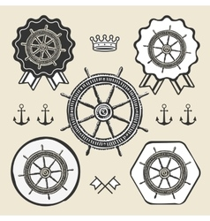 Helm vintage sea naval symbol emblem label vector
