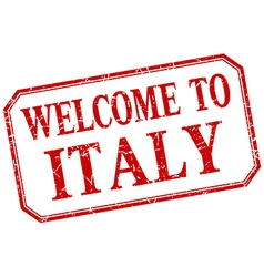 Italy - welcome red vintage isolated label vector