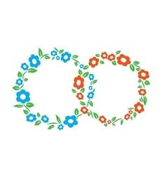 Blue and red vintage Flower interlinked rings vector image