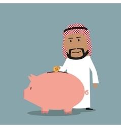 Arab businessman puts a coin into piggy bank vector