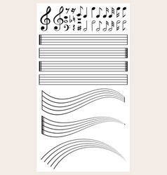 Blank music paper with different notes vector