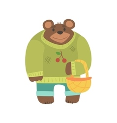 Brown Bear In Sweater With Wicker Basket Forest vector image vector image