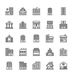 Buildings icons 2 vector