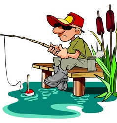cartoon fisherman with a fishing pole sitting vector image vector image