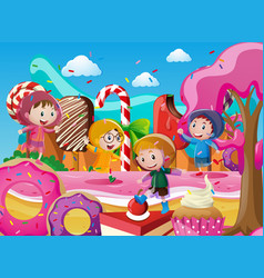 Children in raincoats playing in candyland vector