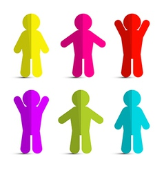 Colorful Paper People Icons - Symbols on White vector image vector image