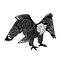 decorative falcon zentangle stylized bird vector image
