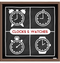Doodle clock icons set vector image