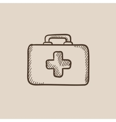 First aid kit sketch icon vector image vector image