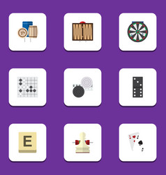 Flat icon games set of mahjong arrow chequer and vector