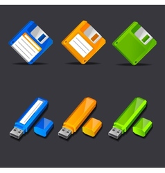 Floppy disk with flash memory icons vector