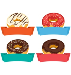Four donuts with frames for text isolated on white vector image