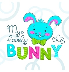 Funny childish with bunny face vector