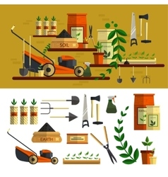 Gardening tools icon set flat vector image vector image