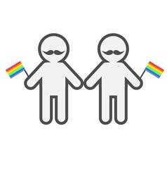 Gay marriage pride symbol two contour man vector