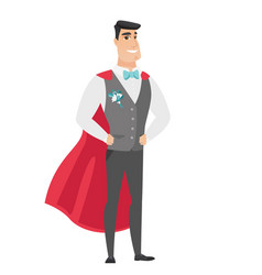 Groom wearing a red superhero cloak vector