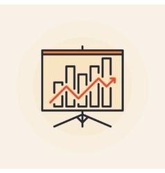 Growing graph presentation icon vector