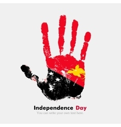 Handprint with the flag of papua new guinea in vector