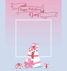 happy valentines day design elements frame with vector image vector image