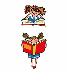 Kids learning with book vector