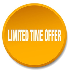 Limited time offer orange round flat isolated push vector