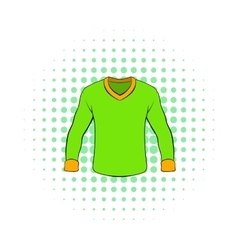 Mens shirt with long sleeves icon comics style vector