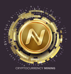 Mining namecoin cryptocurrency golden coin vector