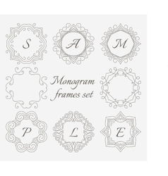 Monogram frames Retro style set Hand drawn vector image vector image