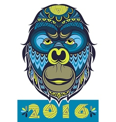Ornate monkey head vector