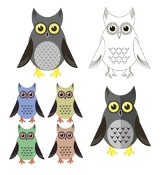 Owl icons isolated vector