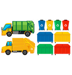 Rubbish trucks and cans in many colors vector