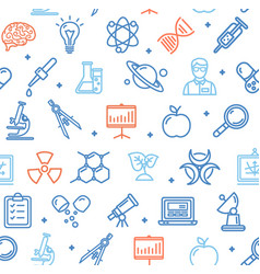 science research flat pattern with thin line icons vector image vector image