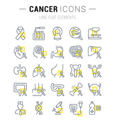 Set flat line icons cancer vector