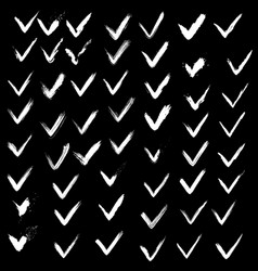 Set of hand drawn paint ink check marks grunge vector