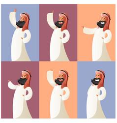 set of muslim cartoon characters4 vector image vector image