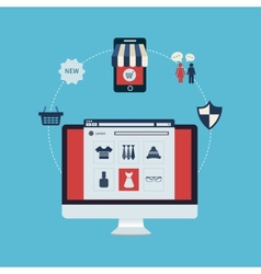 Set of online shopping vector image vector image