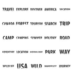 Set of travel labels with silhouette of forest vector