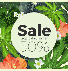 Summer sale on circle background with tropical vector