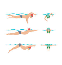swimming style scheme vector image vector image